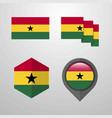 ghana flag design set vector image vector image