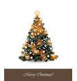greeting card with christmas tree on white vector image vector image