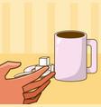 hand grabbing coffee cup vector image
