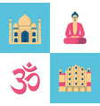 india culture icons set in flat style vector image
