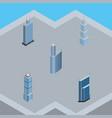 isometric skyscraper set of building business vector image vector image