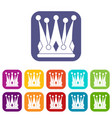 kingly crown icons set flat vector image vector image