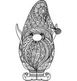 line art design cut gnome for coloring book pr vector image vector image