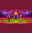 magician with wand and woman on circus arena vector image