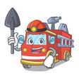miner fire truck mascot cartoon vector image