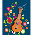 Musical background wtih guitar and flower vector image