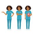 nurse set black vector image vector image