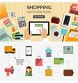 Online shopping flat concept background banner vector image