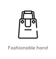 outline fashionable hand bag icon isolated black vector image vector image