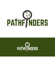 pathfinder logo with magnifying glass and shoe vector image vector image