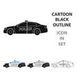 police car icon in cartoon style isolated on white vector image