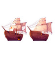 retro wooden ships with white sail cartoon vector image vector image
