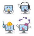 set of monitor character with silent headphone vector image vector image
