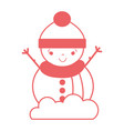 silhouette snowman to decorate and celebrate merry vector image