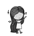 silhouette woman dancing with musical notes vector image
