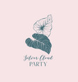 silver cloud beach party hand drawn logotype vector image