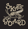 skateboard placard with hand drawn surreal of vector image