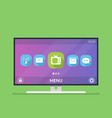 smart tv menu with icons and smart tv settings vector image vector image