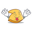 tongue out fortune cookie mascot cartoon vector image