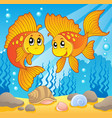 two cute goldfishes vector image
