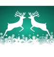 Two reindeer jump to each other vector image vector image