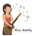 woman playing guitar isolated icon design vector image vector image