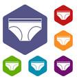 woman underwear panties icons set hexagon vector image vector image