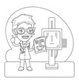 x-ray operator coloring page vector image vector image