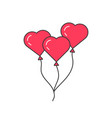 pink outline balloon like heart vector image