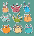 Set of funny animal stickers vector image