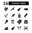 Set icons of fishing vector image