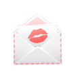 pink letter with the imprint of a red kiss vector image