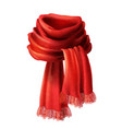 3d realistic silk velvet red scarf vector image