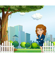 A girl relaxing on her breaktime near the tree vector image vector image