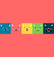 abstract cat square faces vector image vector image