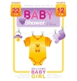 Baby shower girl invitation design with body suit vector image vector image