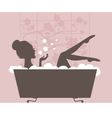 Beautiful woman taking a bath vector image