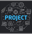 black line flat circle project vector image vector image
