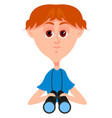boy with blue shirt on white background