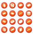 building materials icons set red vector image vector image