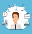 businessman with office set icons vector image