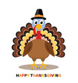 card for thanksgiving day with cartoon turkey vector image vector image
