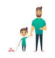 cartoon father and son man and boy happy vector image vector image