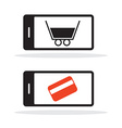 Cell Phone Icon with Shopping Cart and Credit Card vector image vector image