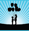 children with ballon in nature vector image vector image