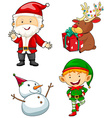 Christmas characters set on white background vector image vector image