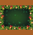 christmas tree pine branch frame with golden bells vector image