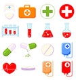 colorful cartoon 16 medical icon set vector image