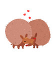 couple of cute hedgehogs in love embracing each vector image vector image