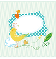 Cute bird greeting card vector image vector image